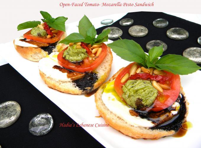 Open-Faced Tomato Mozzarella Pesto Sandwich