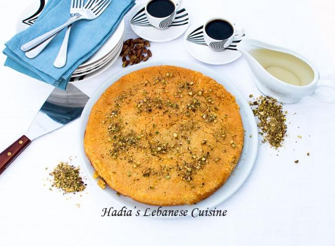 Knafeh....A flat platter usually made with semolina dough and a filling of melted gooey cheese or clotted cream
