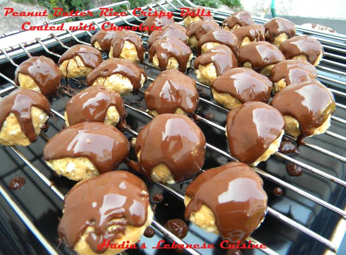 Peanut Butter Rice Krispy Balls Coated with Chocolate