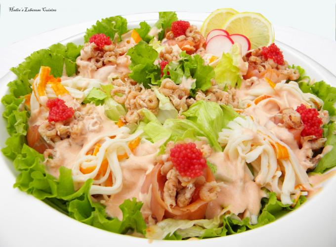 Seafood Salad....A luxury salad packed with proteins and a great dish when hosting a large reception