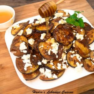 Eggplant Chips with Feta and Honey...This is a treasured Spanish Tapa that has been given to me by our dear friend David Carreras....