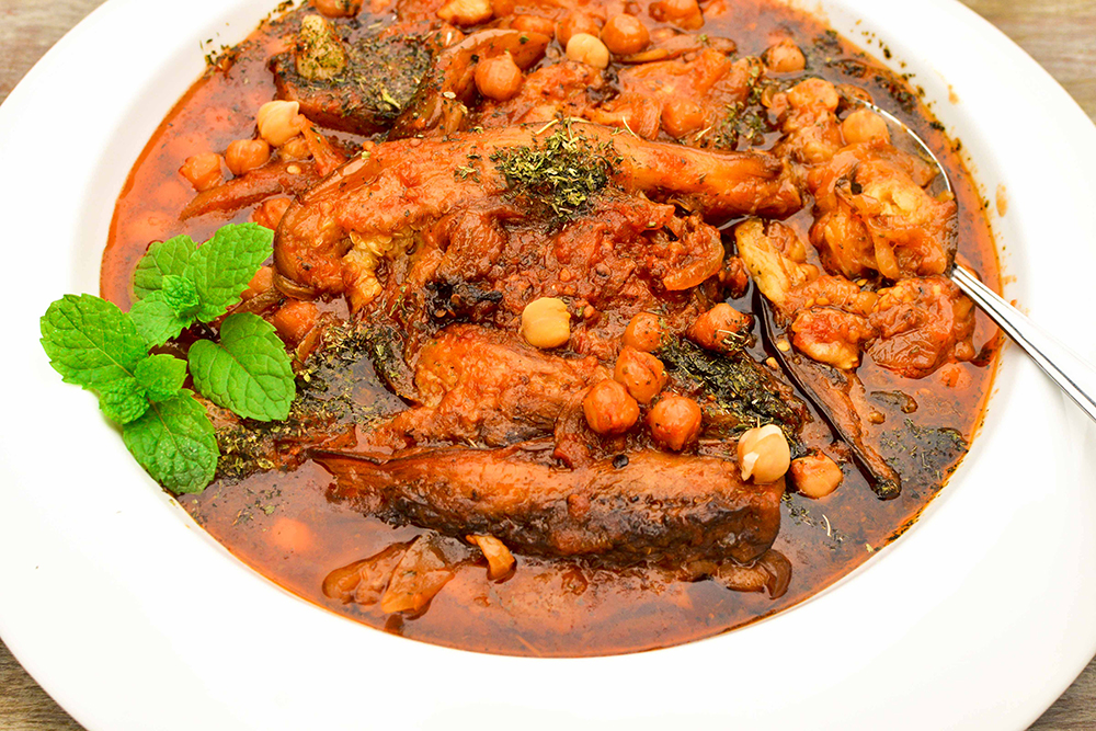 My Mom's Lebanese Moussaka (maghmour).  A velvety vegetarian eggplant stew with chickpeas, garlic , onions, tomatoes and dried mint.