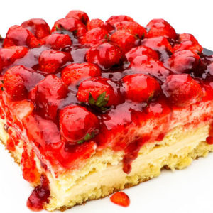 Fraisier.  A classic elegant French cake that is made of two layers of sponge cake sandwiched together with a mousseline cream