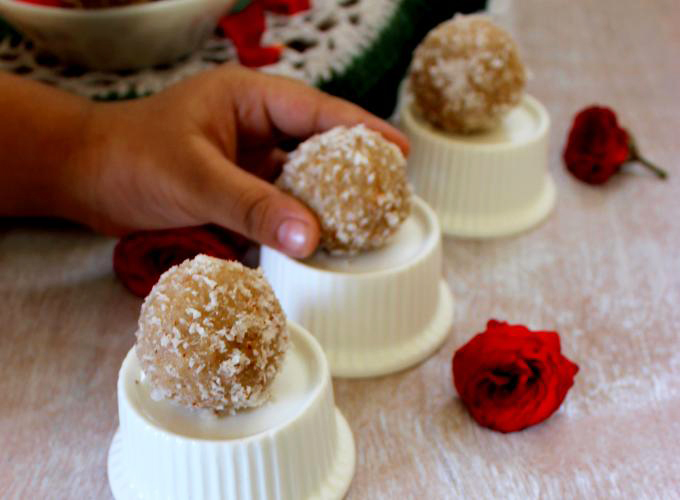 Gulkand Coconut Ladoos.  A guest post from Priya at priyakitchenette