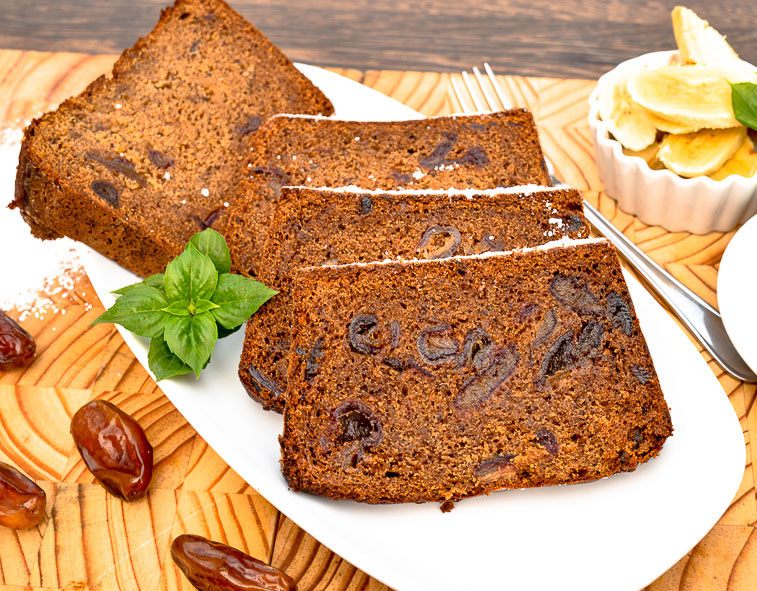 Banana and Date Bread with Tahini and Carob Molasses