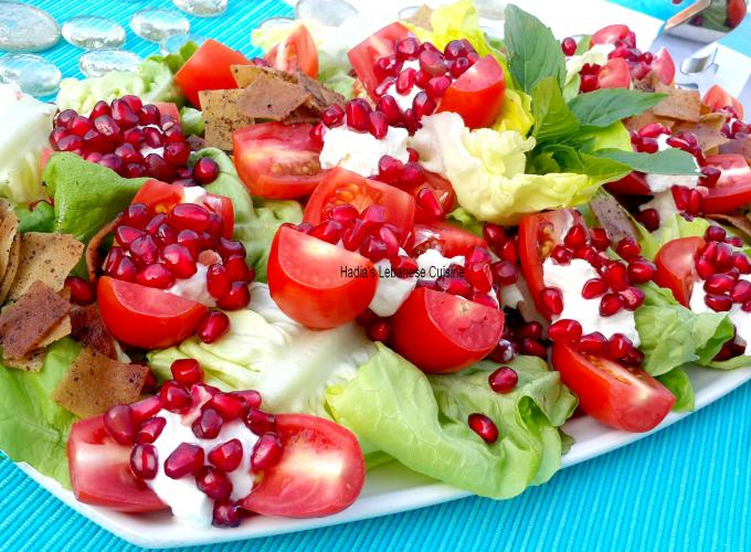 Labneh Tomato and Pomegranate Salad