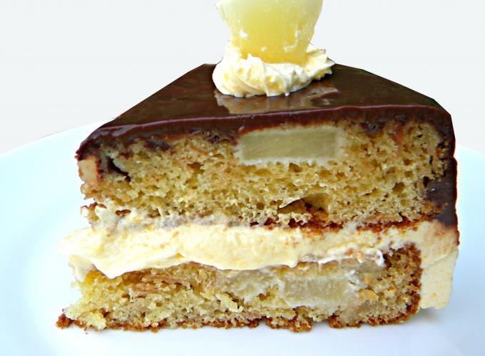 Sponge Cake with Orange Flavored Whipped Cream and Chocolate Ganache