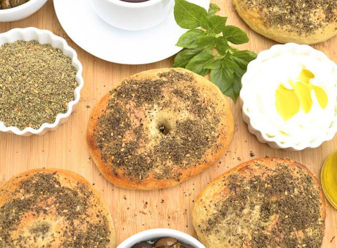 Bagels with Zaatar and Labneh
