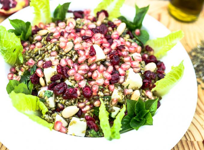 Freekeh, Halloumi and Pomegranate Salad