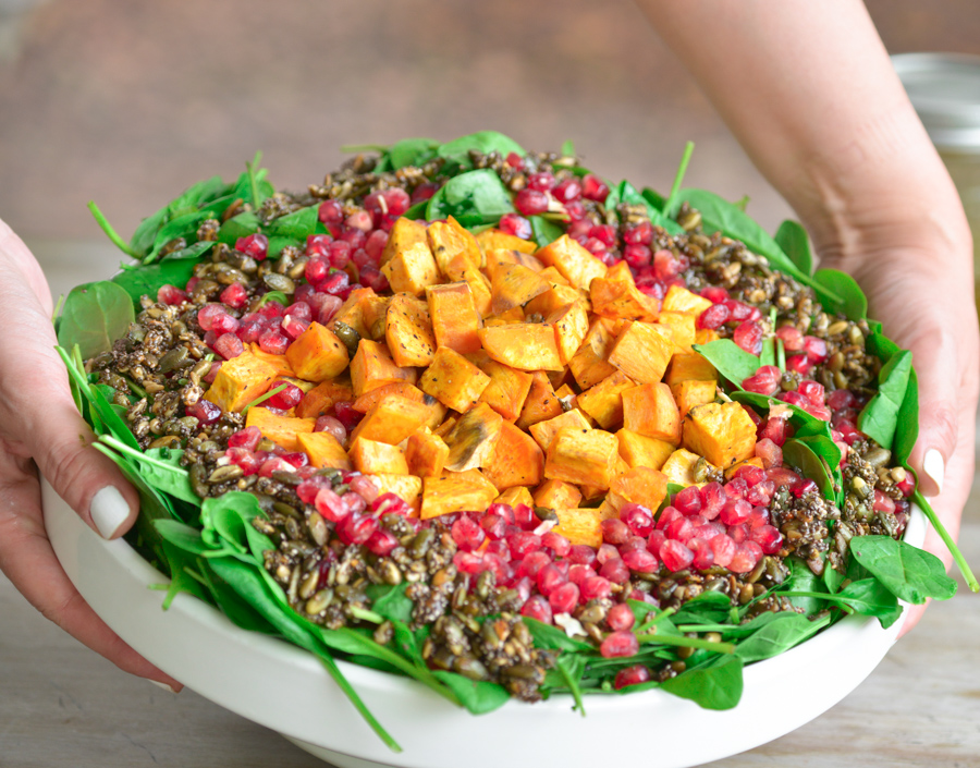 Roasted Sweet Potato Salad With Spinach Pomegranate And Pumpkin Seeds Hadias Lebanese Cuisine